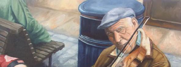 """Pintura al óleo, """"El Violinista"""""""